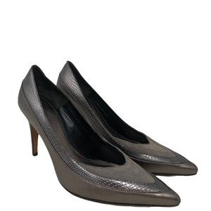 Reiss Gray Pewter Metallic Suede & Leather Pointed Toe Pumps Heels Size 38/7.5